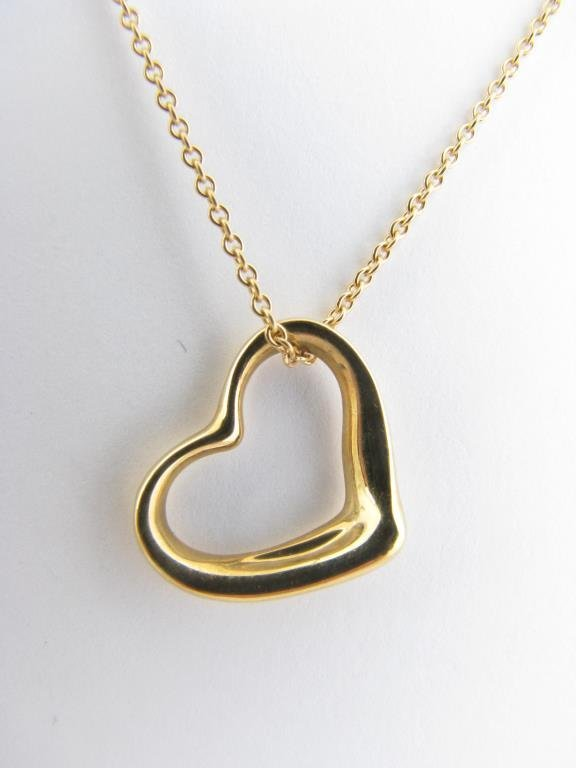 18k YG Tiffany & Co. Peretti Open Heart Necklace