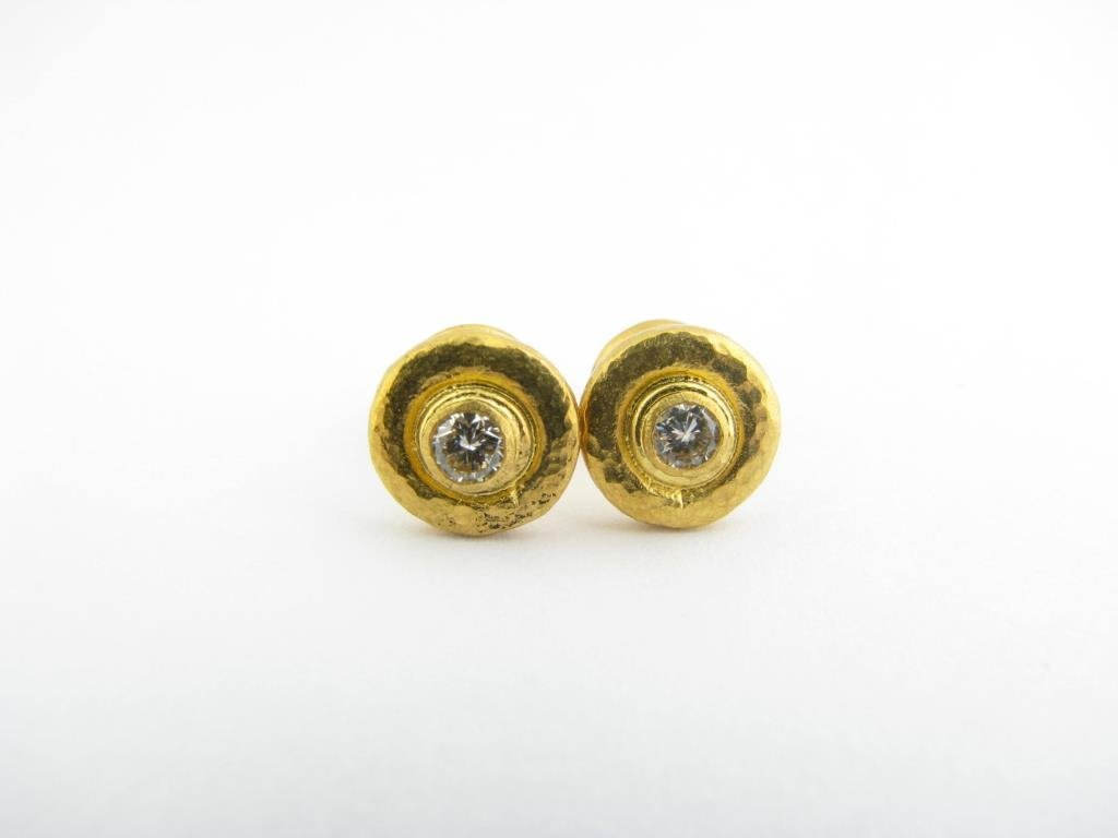 24k Gurhan Bezel Set Diamond Stud Earrings
