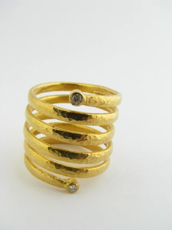 Gurhan 24k Gold Coil Ring With Diamond