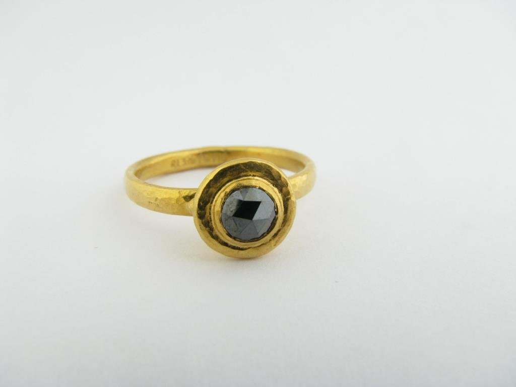 24k Gurhan Black Diamond Bezel Set Ring