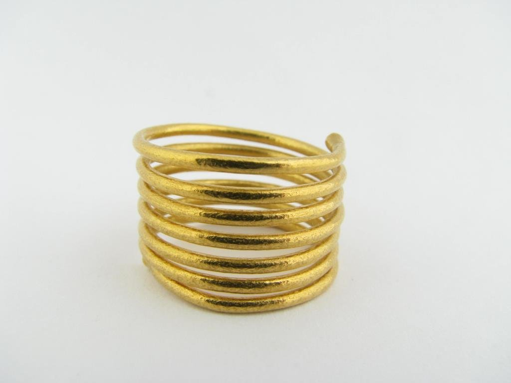 24k Gurhan Coil Ring With Bead Ends