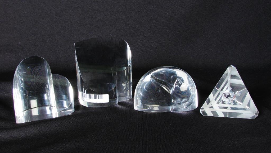 Four Steuben Crystal Paperweights