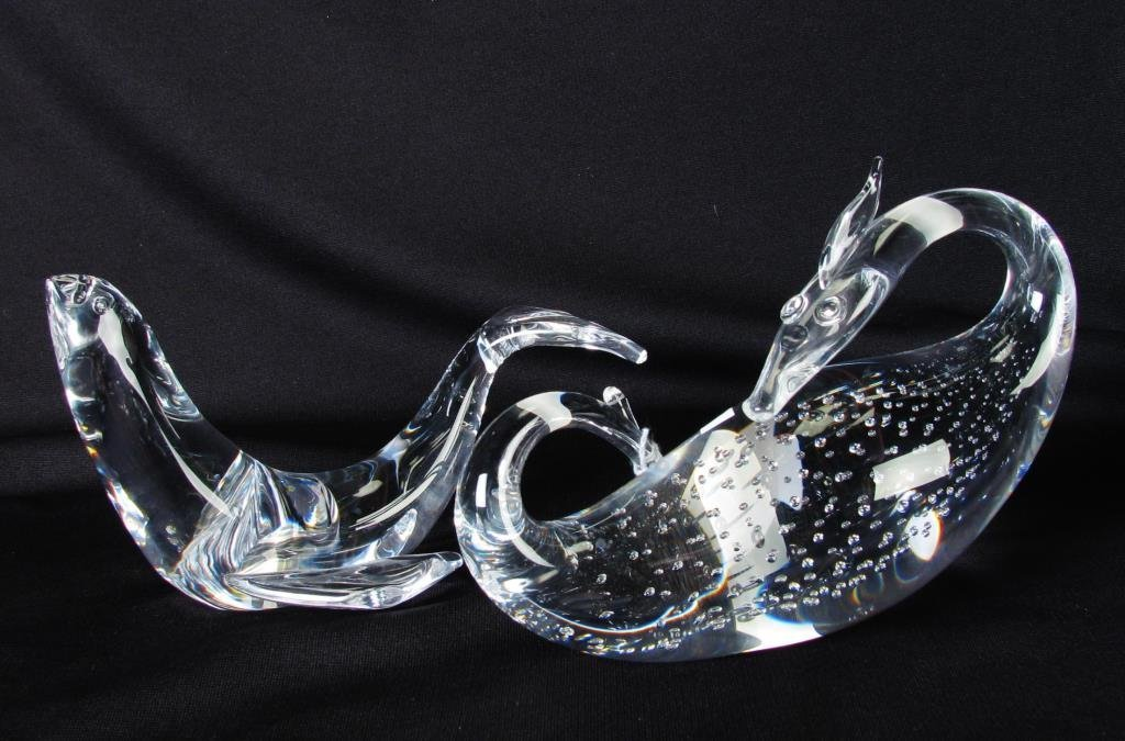 Two Steuben Crystal Figurines, Dragon, Seal