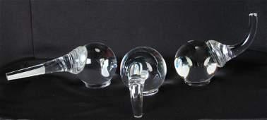 Three Steuben Crystal Elephant Figurines Schulze