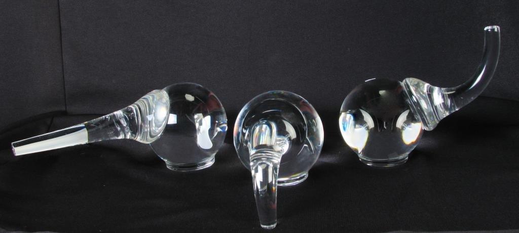 Three Steuben Crystal Elephant Figurines, Schulze