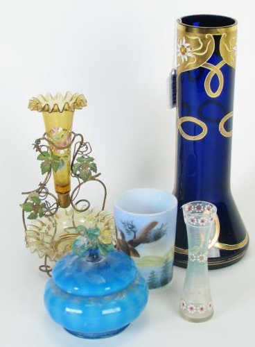 Group of Antique Decorator Colored Glass