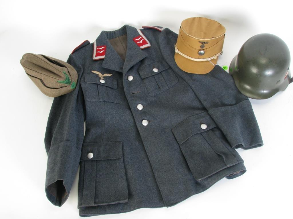 WWII Nazi Uniform Jacket and Group of Hats