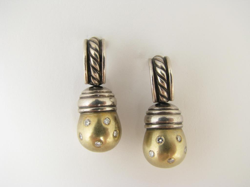 David Yurman 14KT and Sterling Diamond Earrings