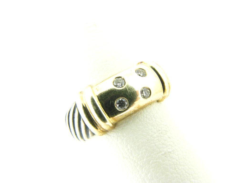 David Yurman Sterling/14K Diamond Cable Ring