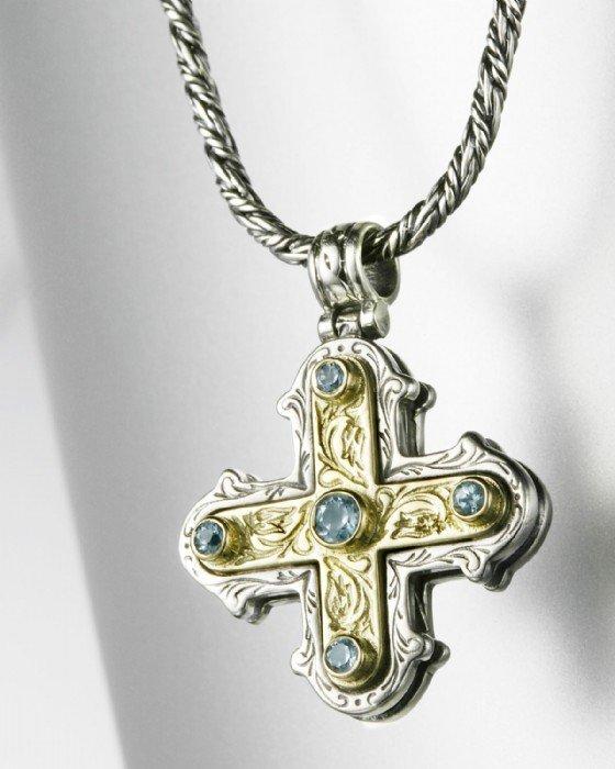 Konstantino Sterling and 18K Maltese Cross Pendant