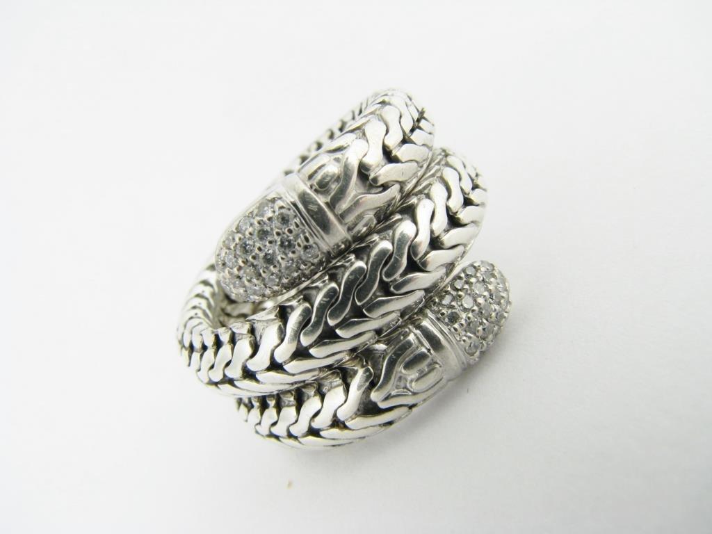 John Hardy 18K/Sterling Diamond Coil Ring