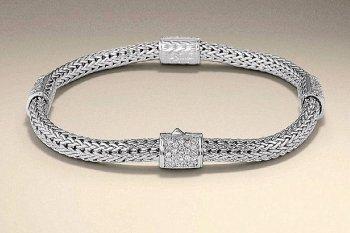 John Hardy Sterling Four-Station Diamond Bracelet