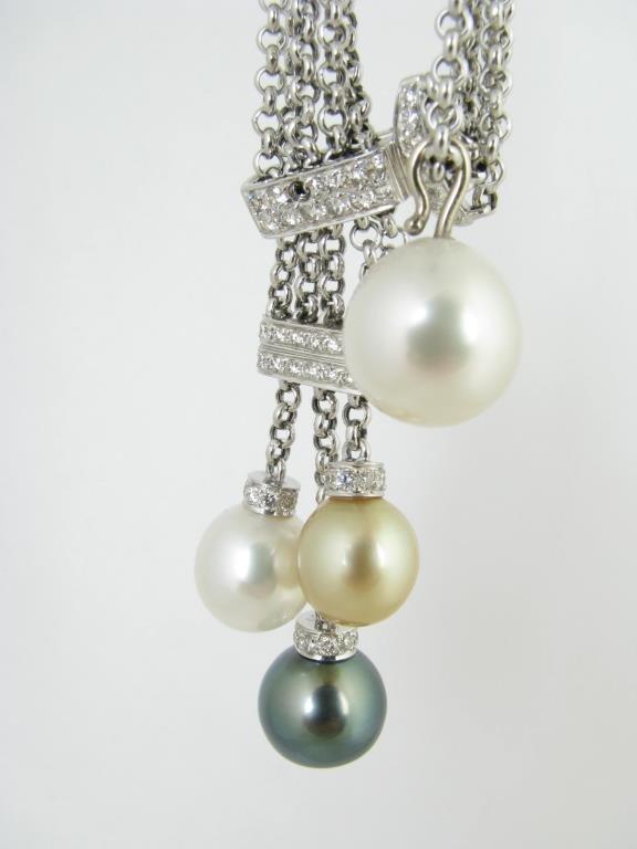 18K White Gold South Sea Pearl, Diamond Necklace