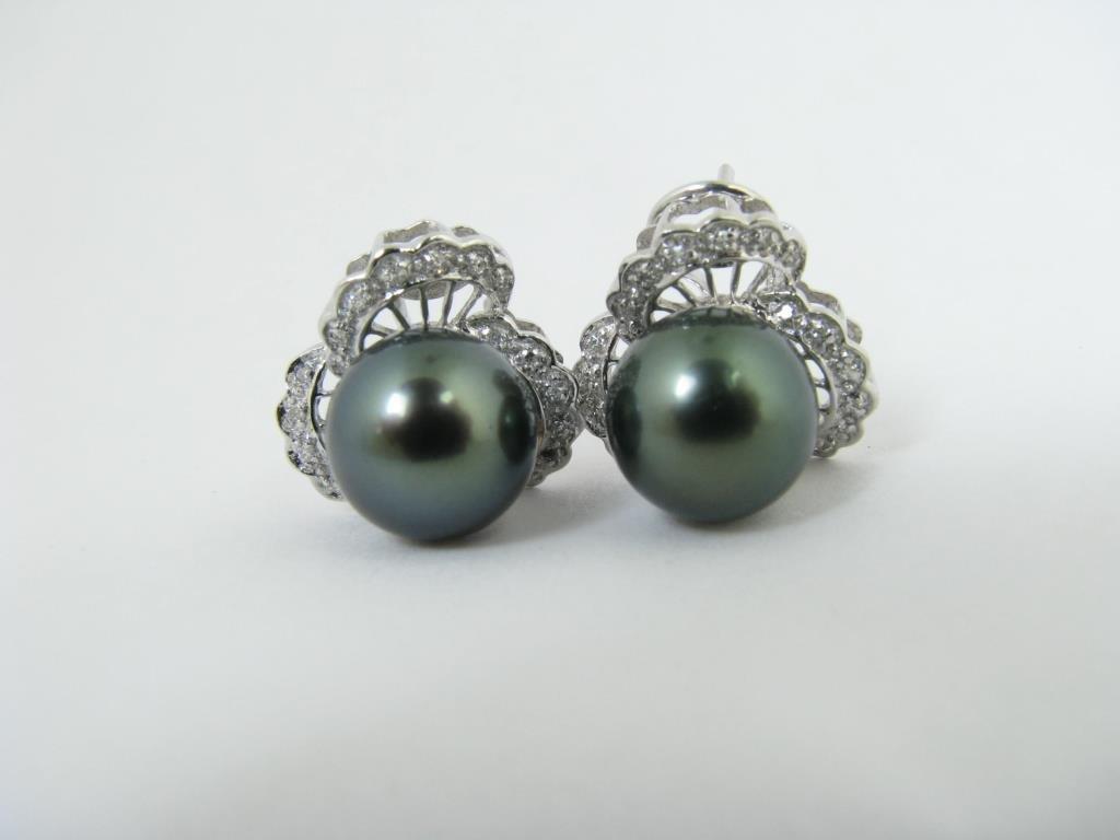14K White Gold South Sea Tahitian Pearl Earrings