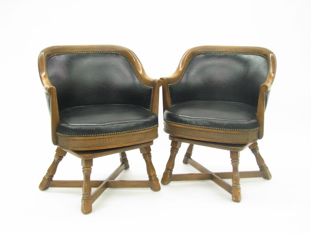Pair of Vintage Romweber Viking Oak Barrel Chairs