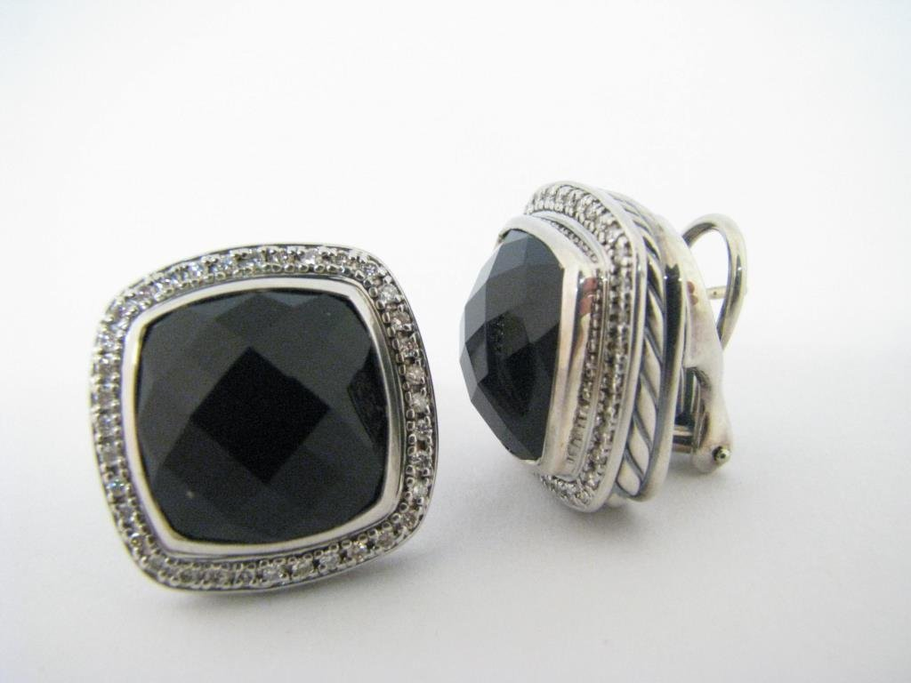 Pair of David Yurman Albion Onyx, Diamond Earrings