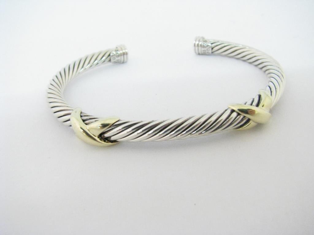 David Yurman 14K and Sterling Double X Bracelet