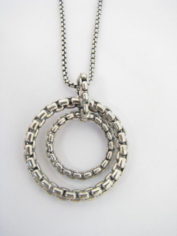 David Yurman Sterling Double Circle Pendant
