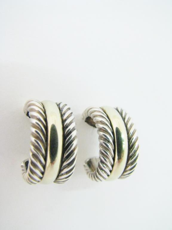 David Yurman 14K/Sterling Cable Hoop Earrings