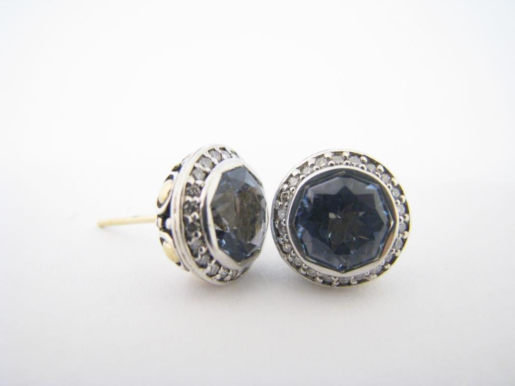 John Hardy Sterling/18K Topaz, Diamond Earrings