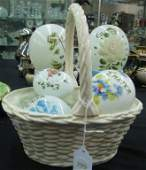 Group of Victorian Decorated Glass Easter Eggs