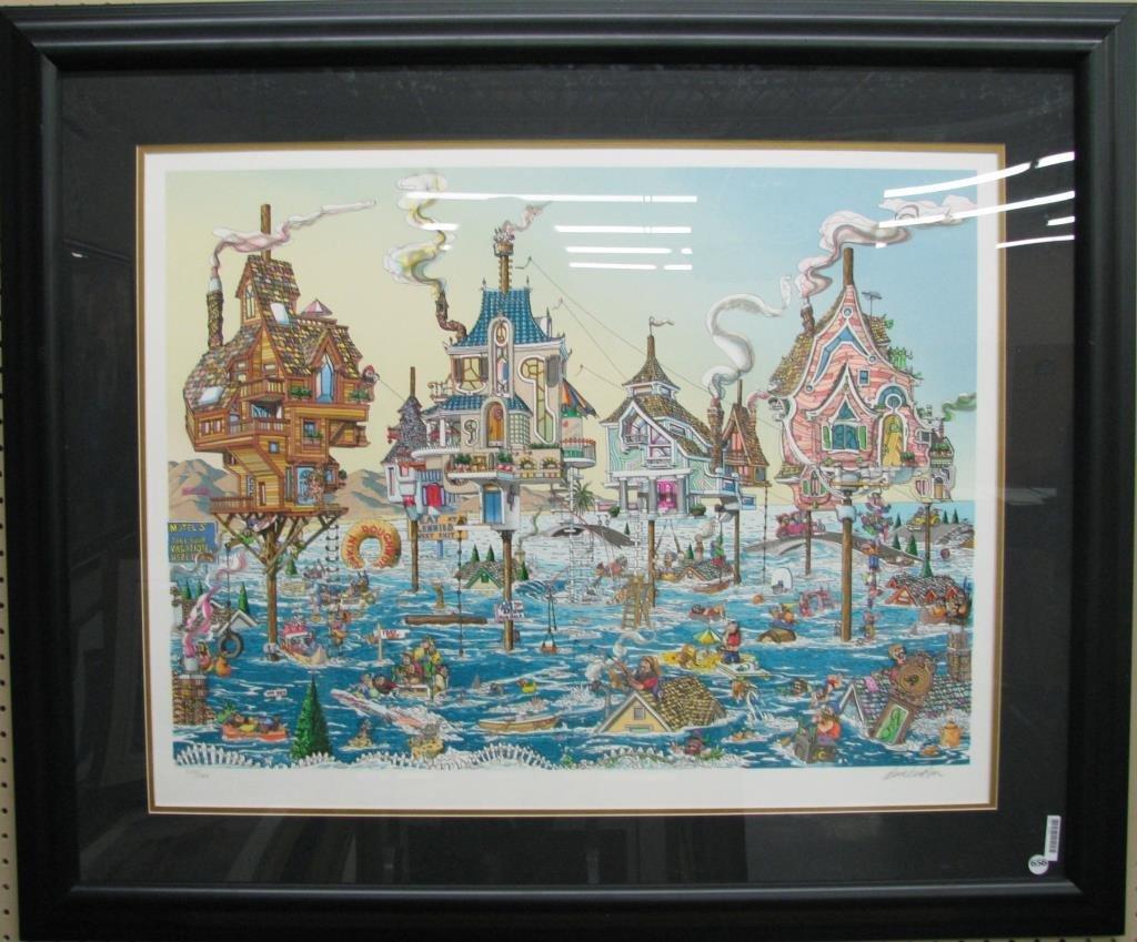 """David Badger """"High Tide"""", Framed Serigraph"""