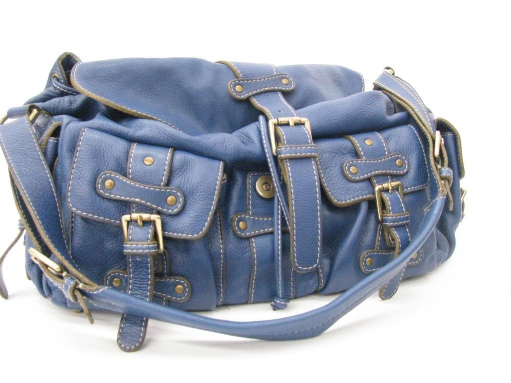 Abro Blue Leather Shoulder Bag