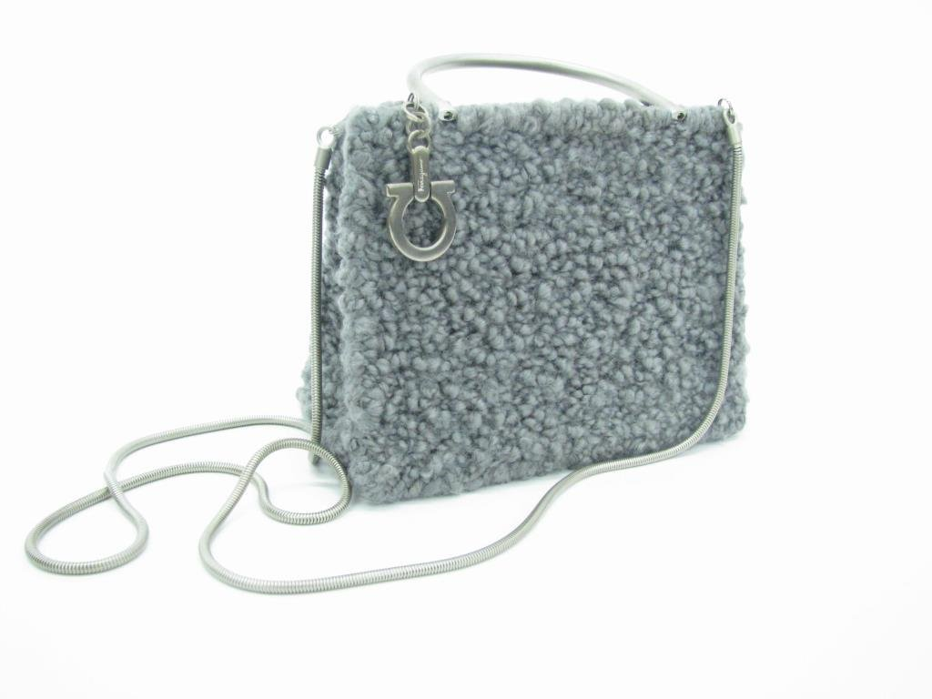 Ferragamo Gray Tweed Evening Bag