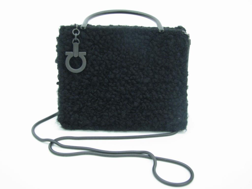 Ferragamo Black Tweed Evening Bag