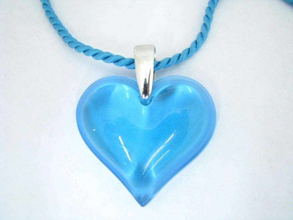 "Lalique ""Bleu Clair"" Heart Pendant, Silk Rope"