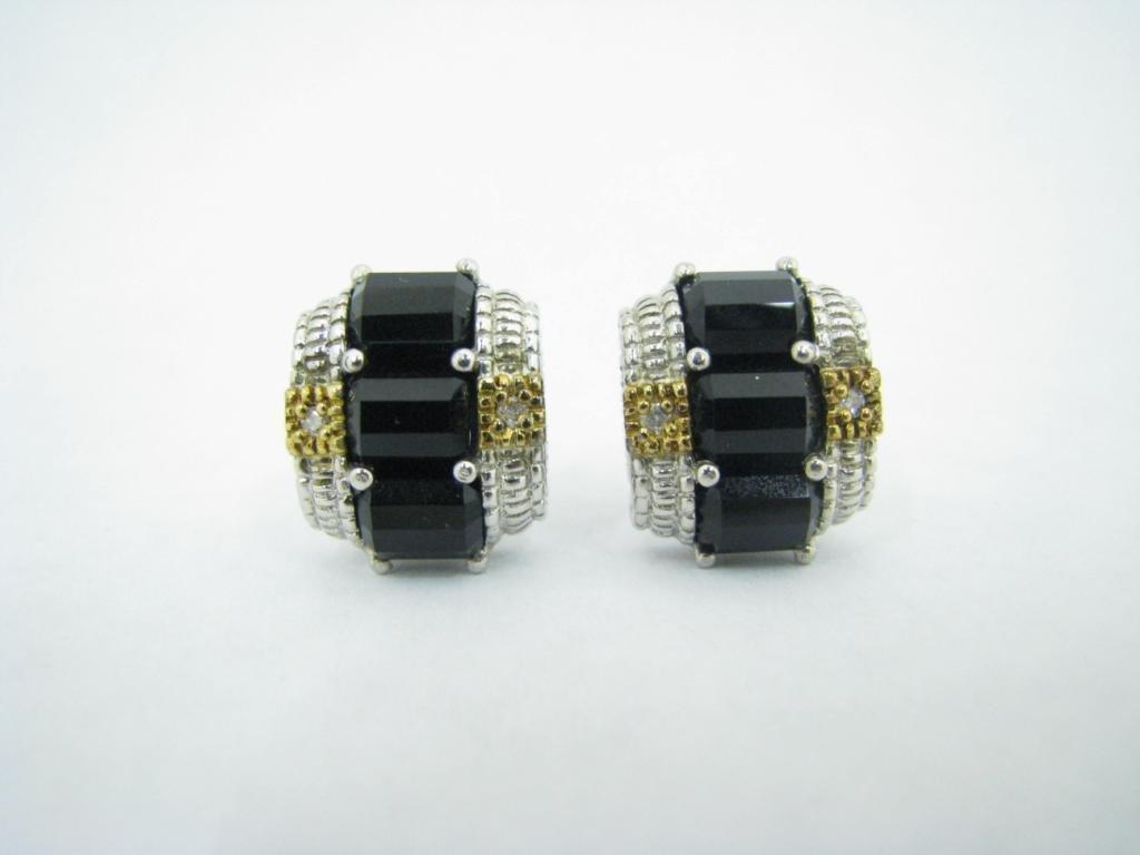 """Ripka """"JR Two"""" Sterling/18K Onyx/Diamond Earrings"""