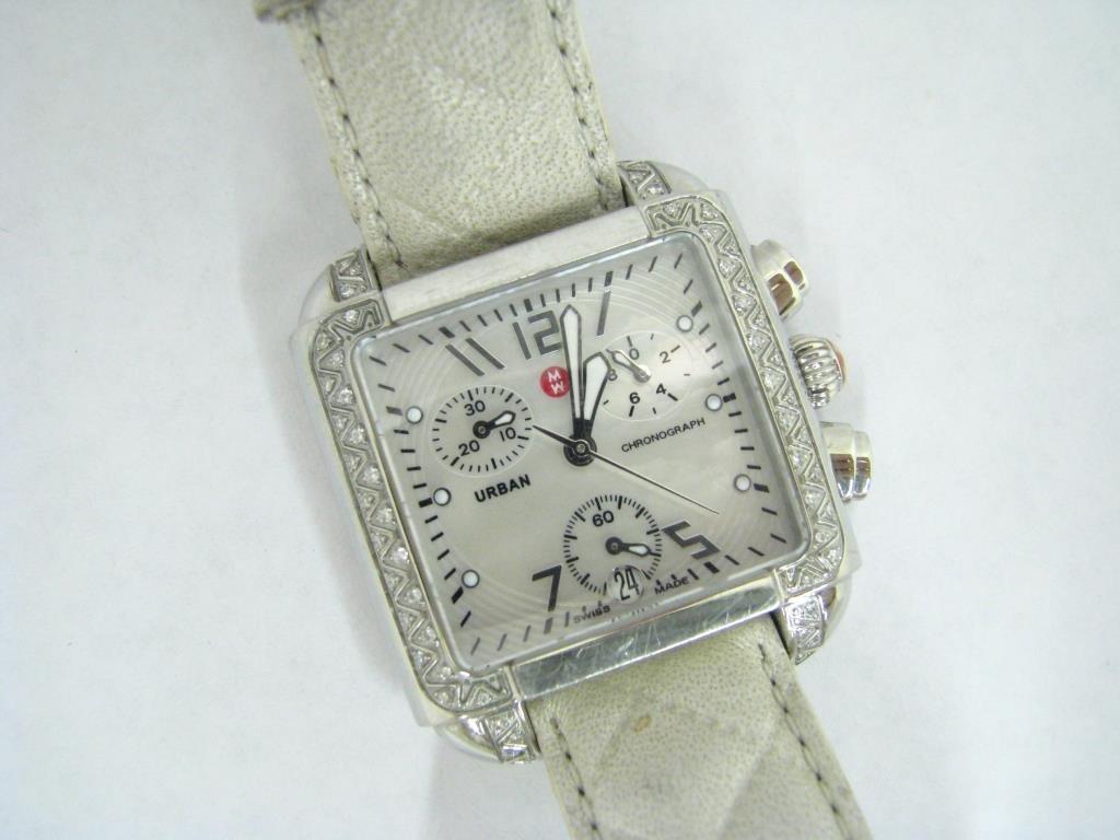 Michele Stainless Diamond Watch