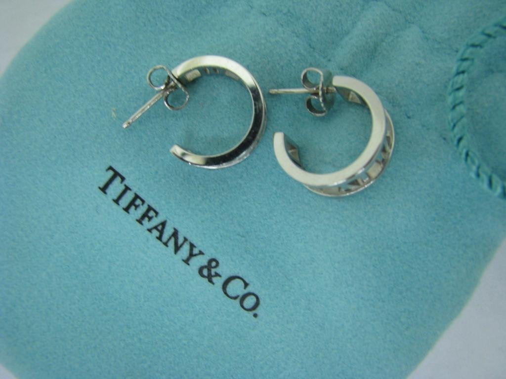 "Tiffany & Co. ""Atlas"" 2003 18K Mini Hoop Earrings - 2"