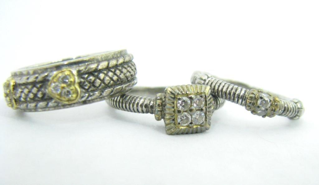 """Ripka """"JR Two"""" Stack Sterling/18K Diamond Rings"""