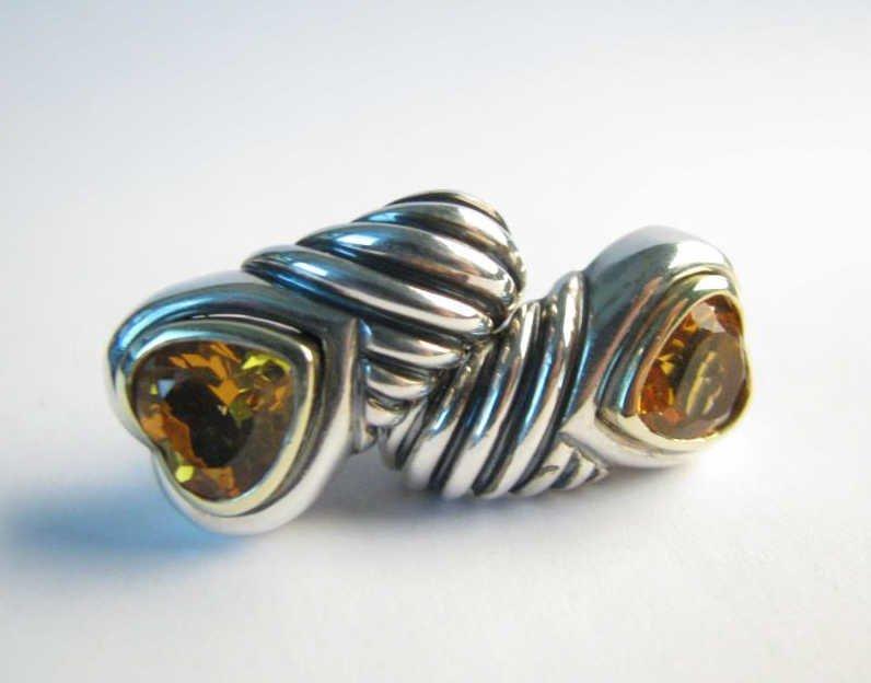 David Yurman 14K, Sterling Heart Citrine Earrings