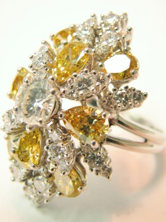 14K Yellow and White Diamond Waterfall Ring