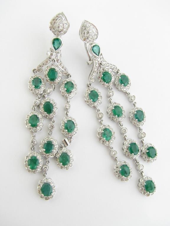 14K White Gold Emerald, Diamond Earrings
