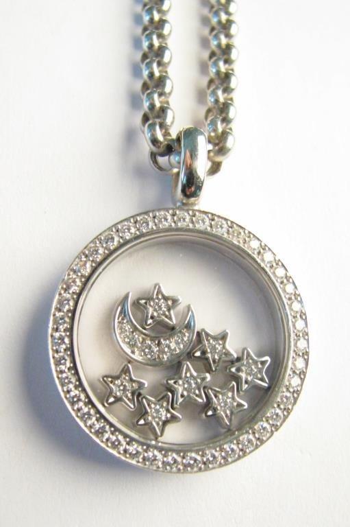 18K Moon & Stars Chopard Happy Diamond Necklace