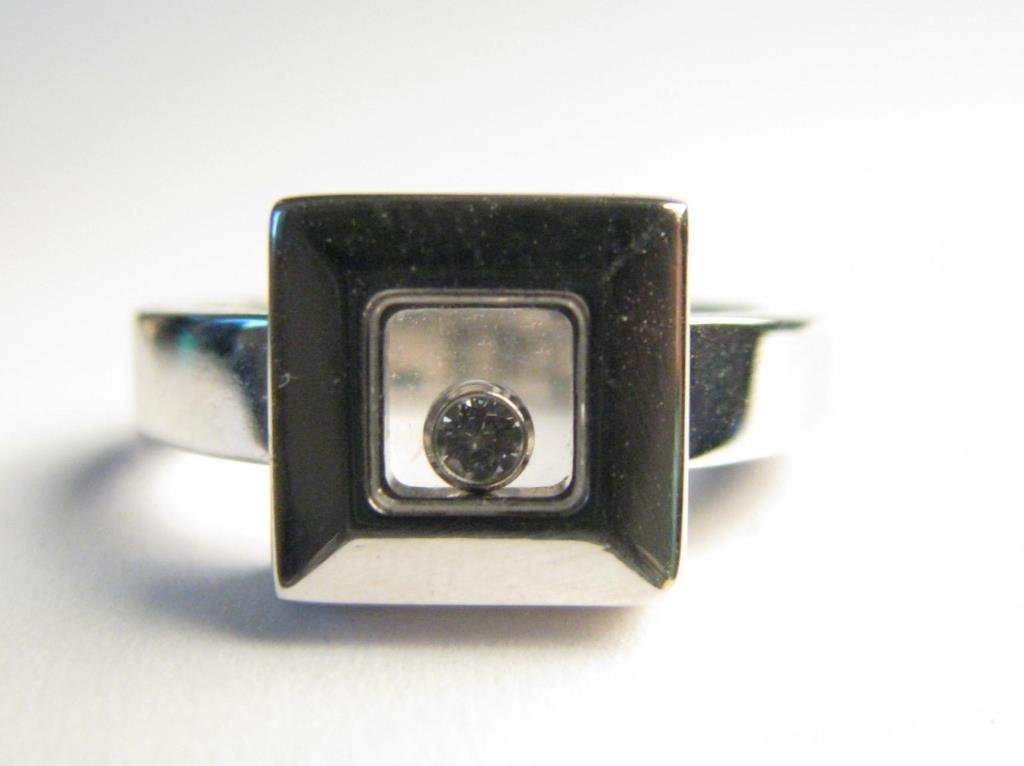 18K Lady's Chopard Happy Diamond Square Ring
