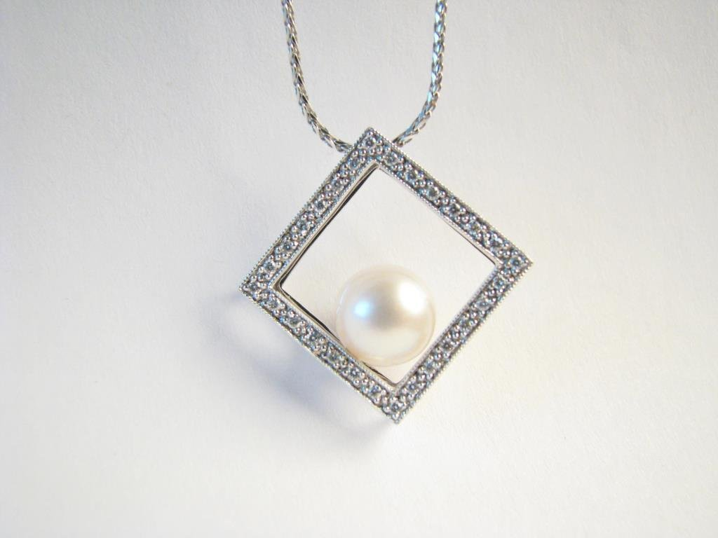 14K White Gold Cultured Pearl Necklace, Chain