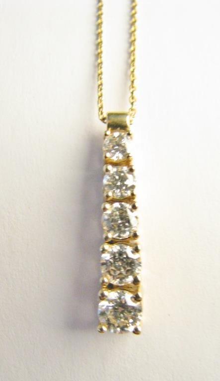 14K Five Diamond Journey Pendant, Chain