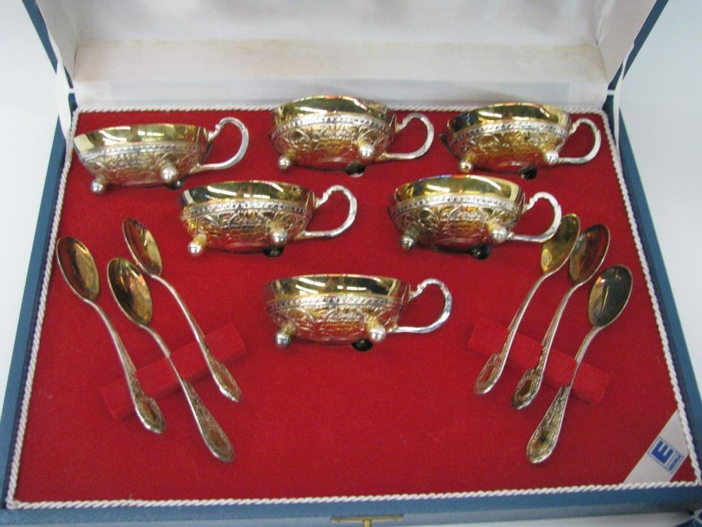 Eberle Silver Plate Tea Cup Sets - 3