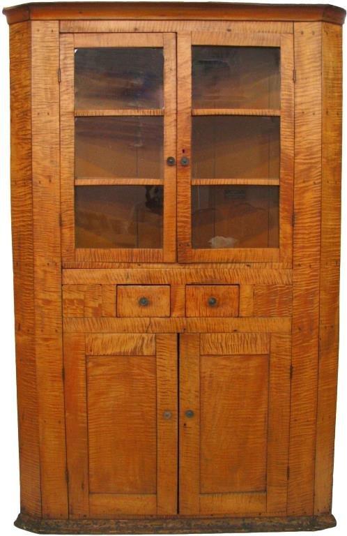 Antique Tiger Maple Corner Cupboard