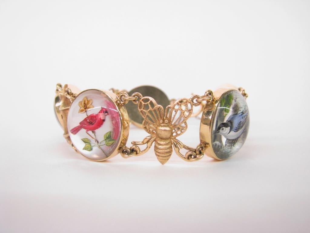 14K Yellow Gold English Crystal Bird Bracelet