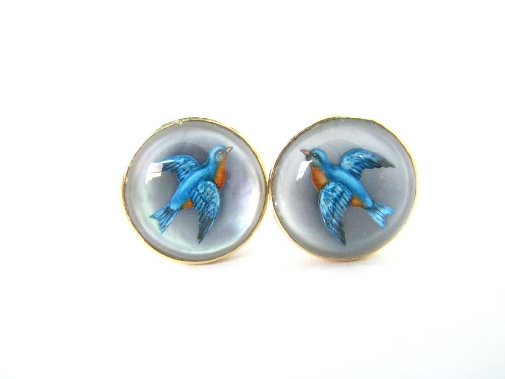 Pair of English Crystal Blue Bird Earrings
