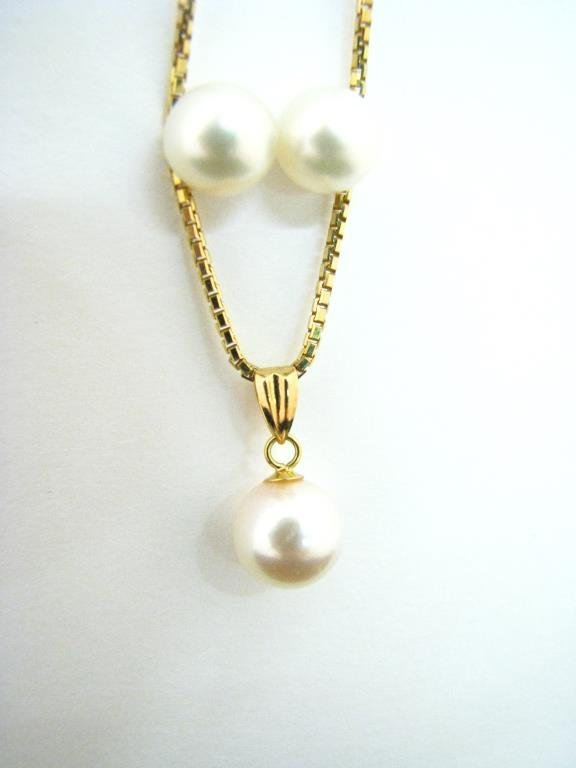 14K Yellow Gold Cultured Pearl Earrings, Necklace