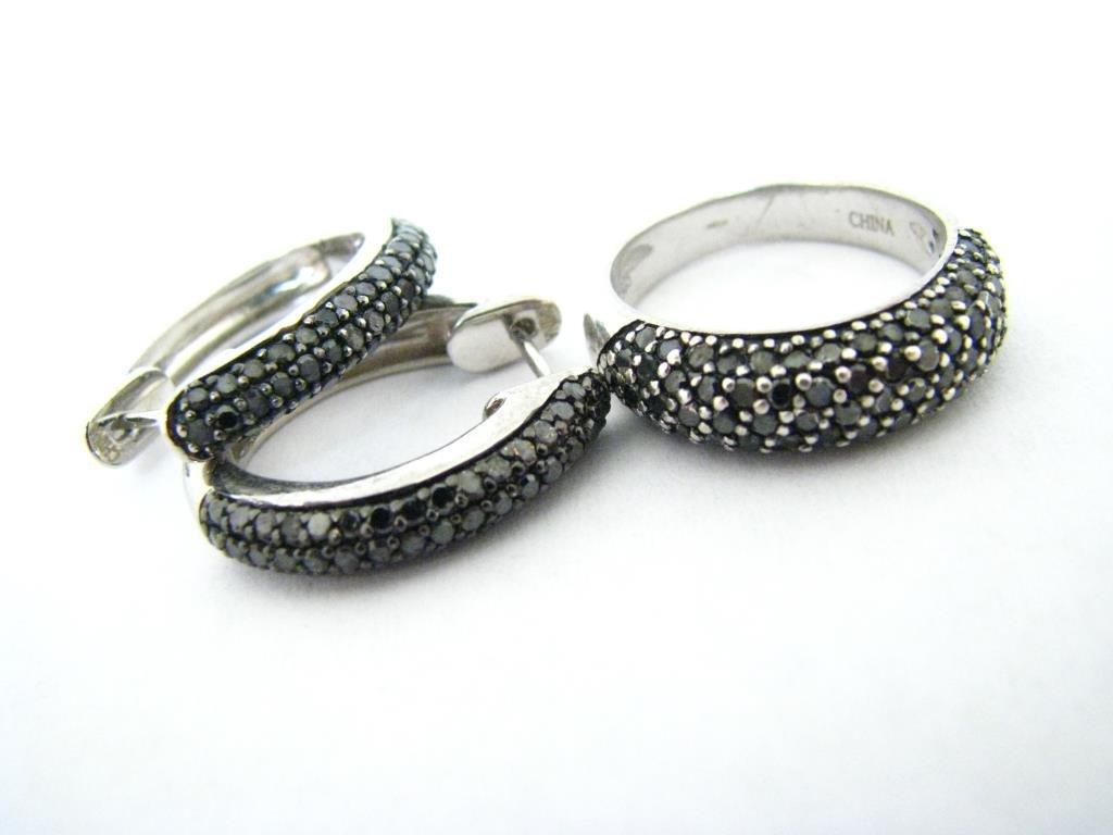 Sterling Silver Black Sapphire Ring, Earrings Set