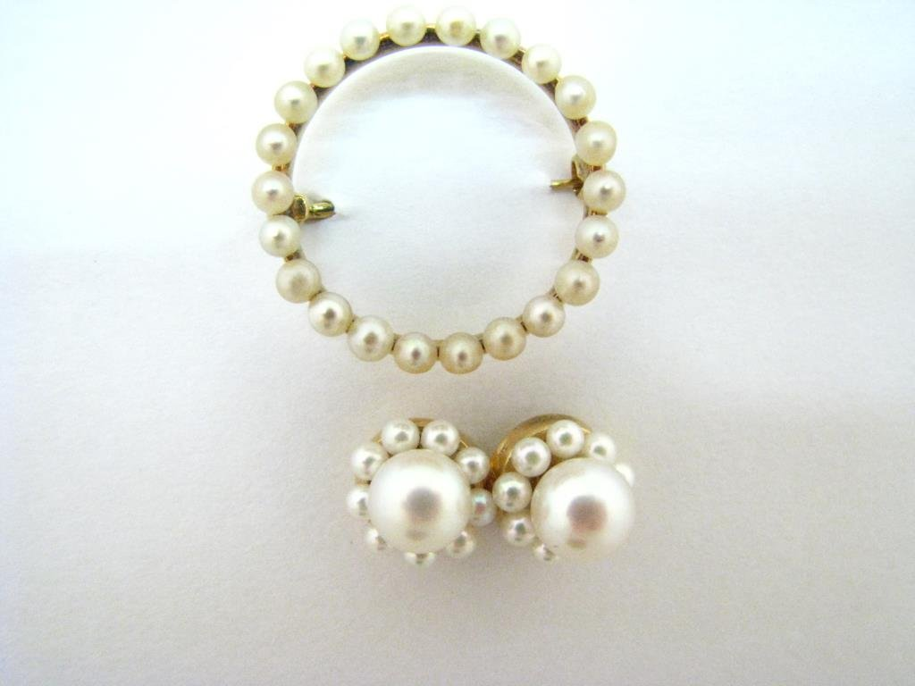 Cultured Pearl Pin, Earrings and Earring Jackets