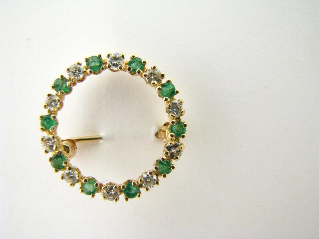 Diamond and Emerald Circle Brooch