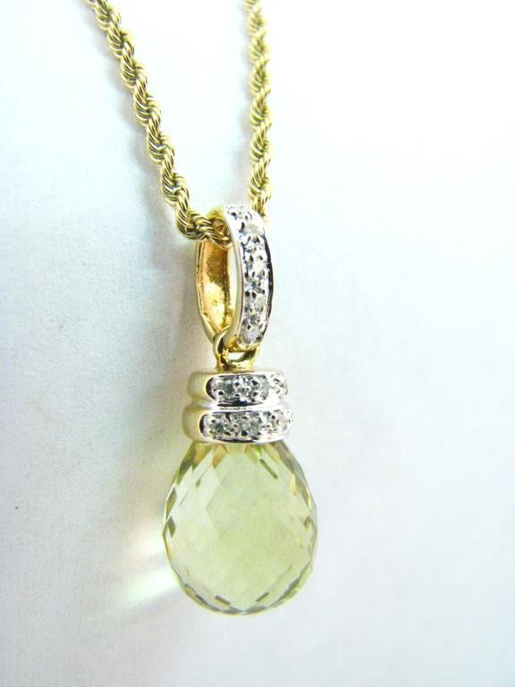 14K Yellow Gold Citrine Pendant and Rope Chain